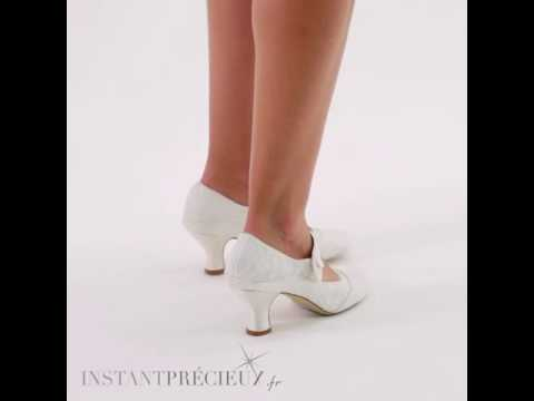 Chaussures mariage vintage dentelle ivoire Esta
