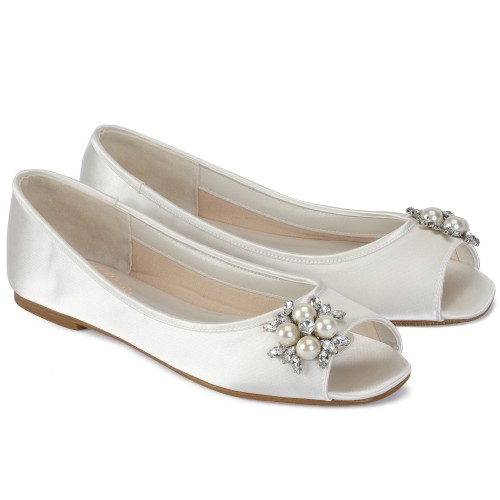 chaussures marie fleur - Chaussures Compenses Blanches Mariage