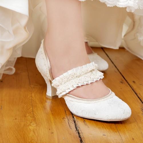 Chaussures mariage talon bobine